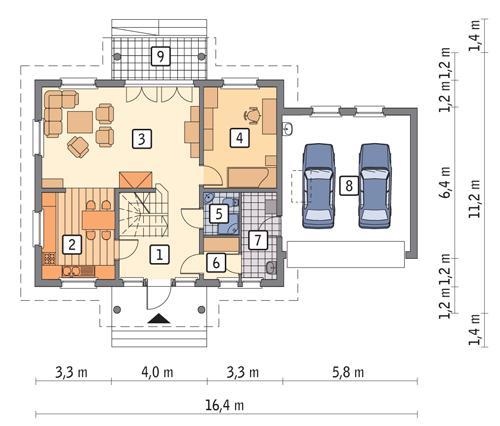 Rzut parteru POW. 107,8 m²