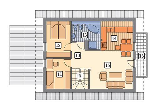 Rzut poddasza: wariant 6 POW. 67,6 m²