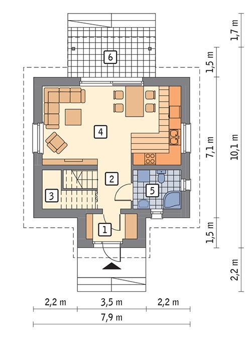 Rzut parteru POW. 42,1 m²