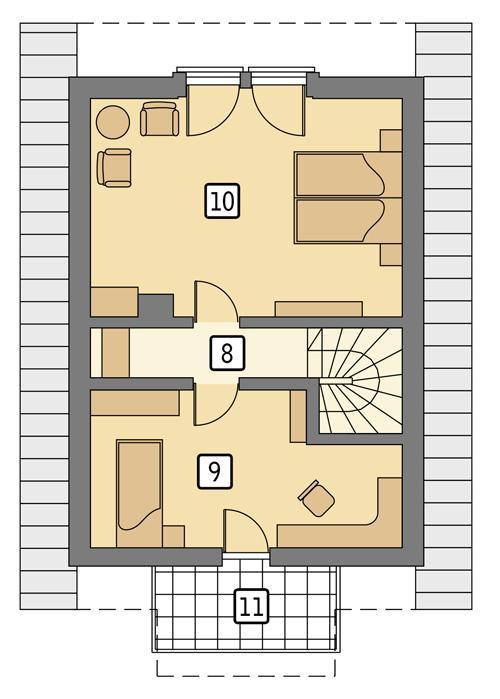 Rzut poddasza POW. 43,8 m²