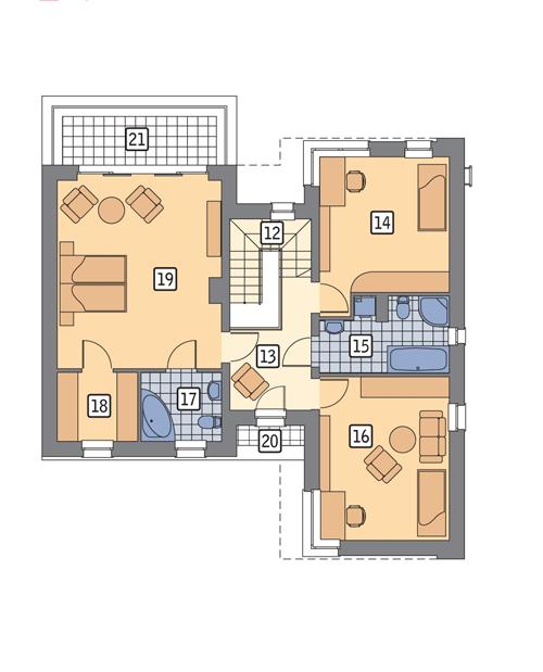 Rzut piętra POW. 95,0 m²