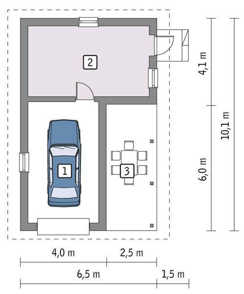 Rzut parteru POW. 38,2 m²