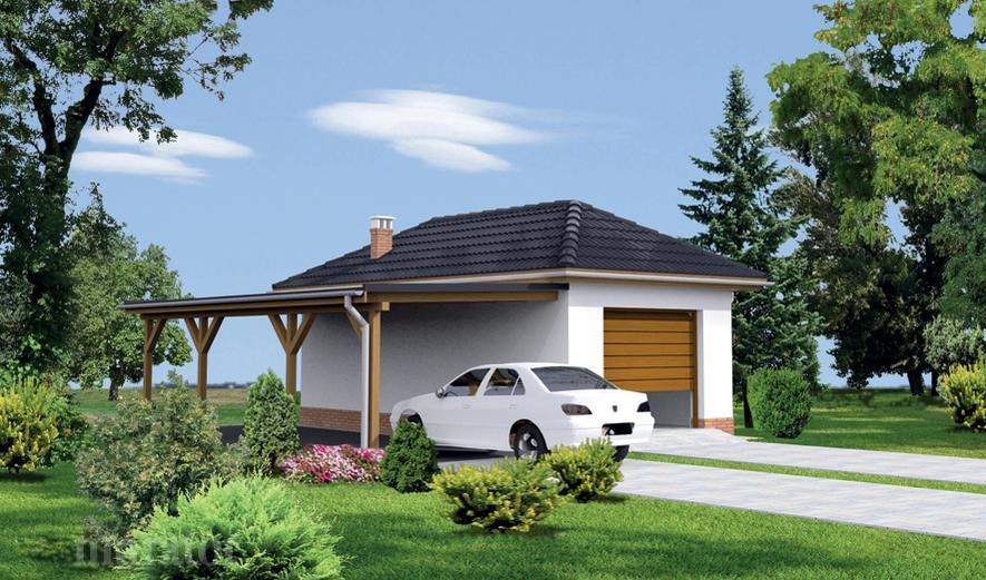 GC49b Garaż z pomieszczeniem gospodarczym i wiatą garażową