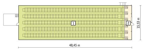 Rzut przyziemia POW. 705,3 m²