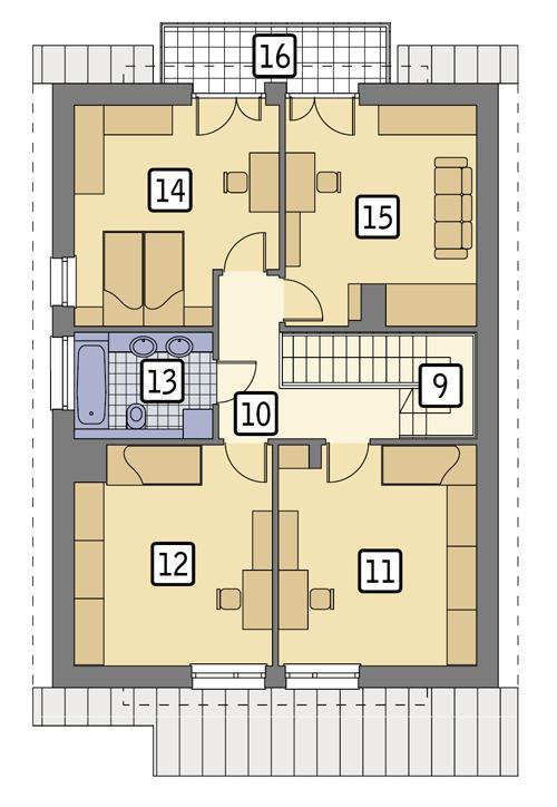 Rzut poddasza POW. 92,0 m²