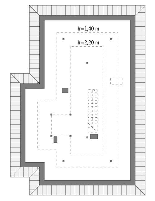 Rzut poddasza: Do indywidualnej adaptacji (61,0 m2 powierzchni użytkowej)