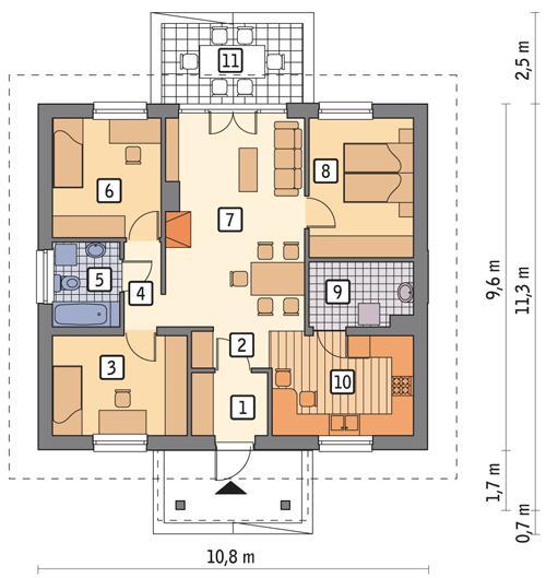 Rzut parteru POW. 80,3 m²